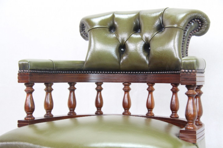 """Swivel Chair"" Chesterfield Vintage Mahagoni"