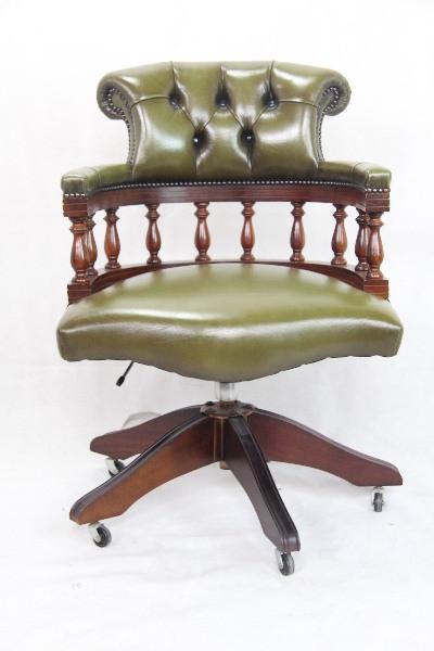 Swivel Chair Mahagoni grünes Leder