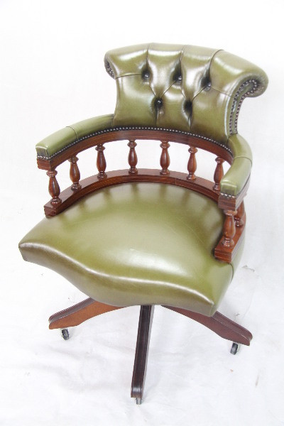 Swivel Chair Mahagoni grünes Leder