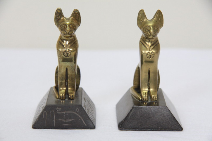 Paar Bronce katzen  Katzen   Frankreich Antique