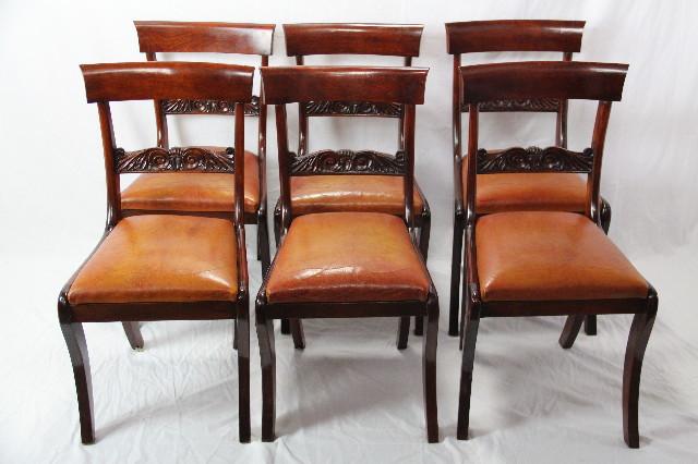 Mahagoni 6er Satz Viktorian Stühle Ledersitze