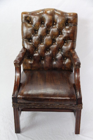 Leder Stuhl  Gainsborough chair Vintage  Mahagoni