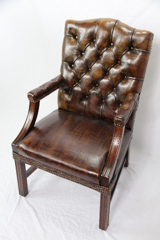 Leder Stuhl  Gainsborough chair Vintage  Mahagoni