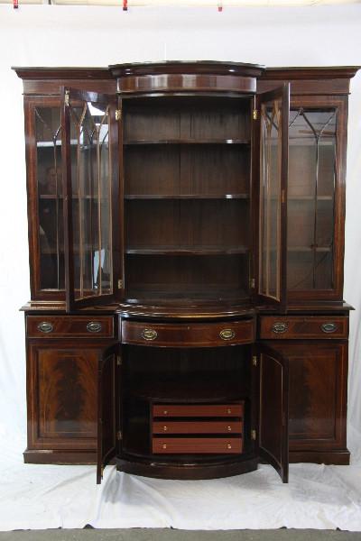 Breakfront Bookcase Wohnzimmerschrank Massives Mahagoni