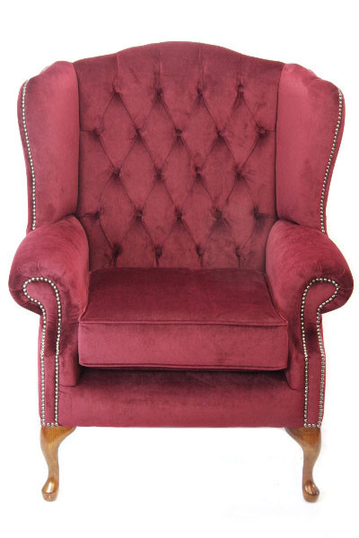 """Queen Anne"" Chesterfield Sessel in Velvet"