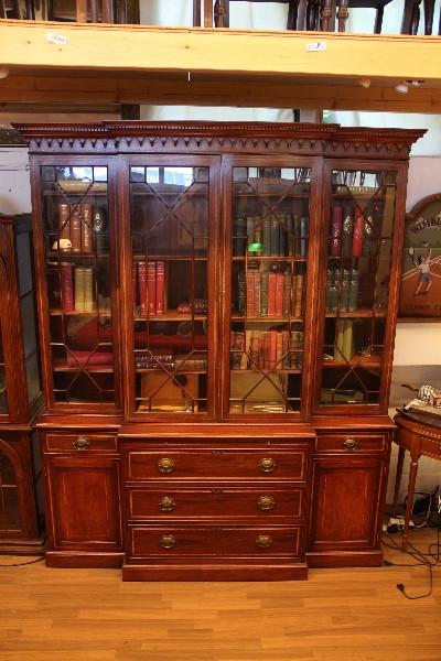 Breakfront Bookcase Edwardian Mahagoni Intarsien