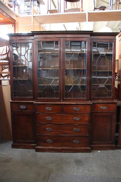 Breakfront  Bücherschrank Bookcase Massiv Mahagoni