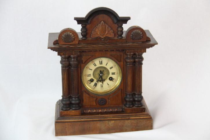 Holz Uhr  Antik France mit Schlag