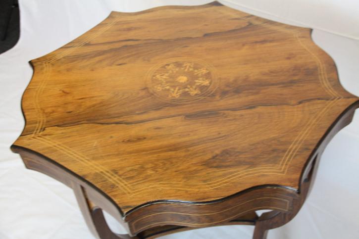 Palisander Tisch Edwardian Intarsien Massivholztisch