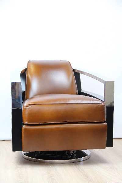 Art Deco  Sessel Chrom/ Inox  Armlehne  Mahagoni