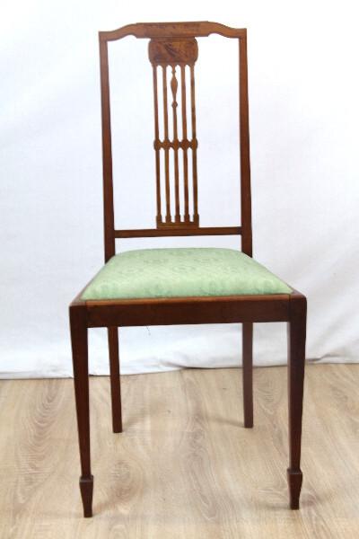 Paar Edwardian Stühle Mahagoni Massivholz mit Intarsiem