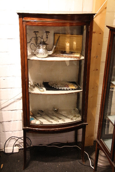 Bow Front Vitrine Edwardian Showcase Display Cabinet