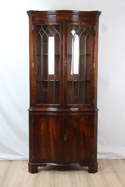 Eckvitrine Mahgoni Corner cupboard Regency Verglasunf
