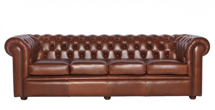 """William"" Chesterfield Sofa Original 4-Sitzer englisches Ledersofa"
