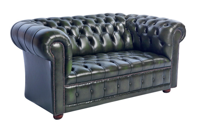 """London Classic Buttonseat"" original englisches Chesterfield Sofa 2-Sitzer"