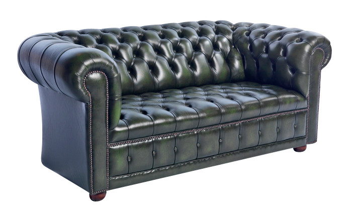 """London Buttonseat Classic"" original Chesterfield Sofa 3-Sitzer Anilinleder"