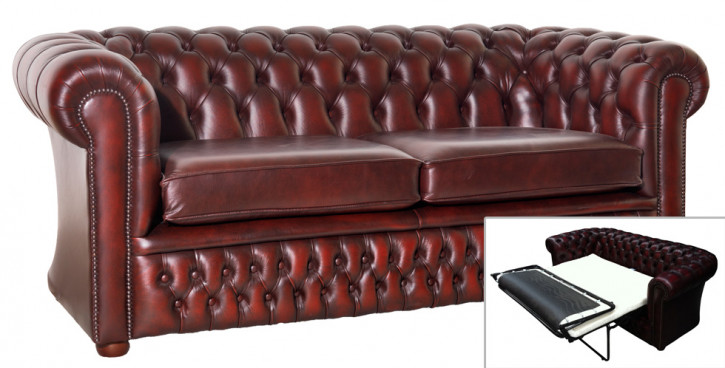 Chesterfield Schlafsofa London 3-Sitzer in Birch Antique Rust