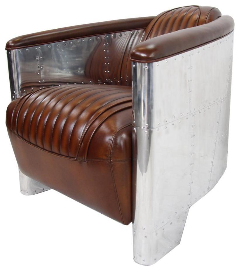 alu sessel braun vintage leder ledersessel original art deco stil lederm bel franz sischer stil. Black Bedroom Furniture Sets. Home Design Ideas
