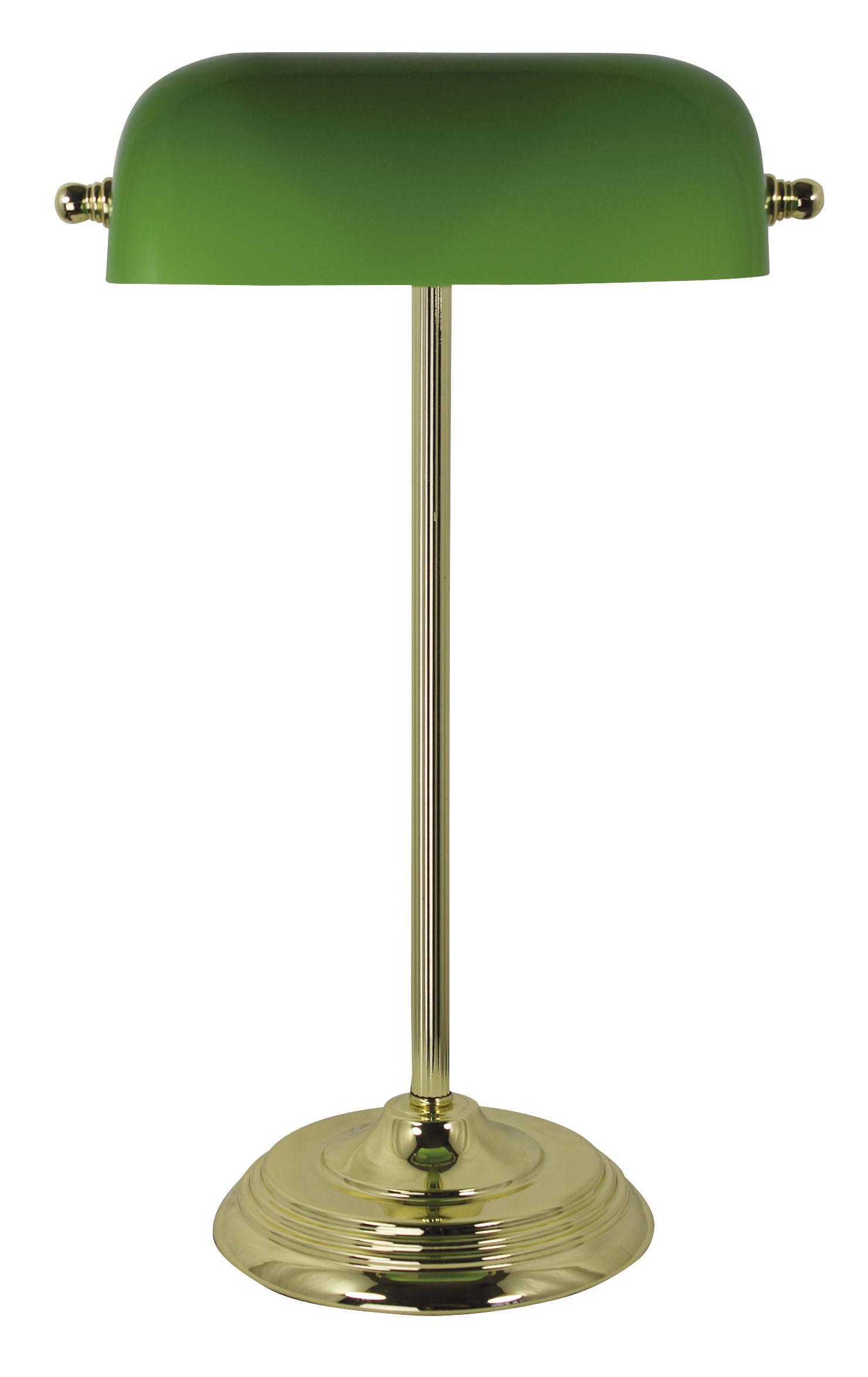 Bankers Lampe, Messing mit grünem Glasschirm H 46cm