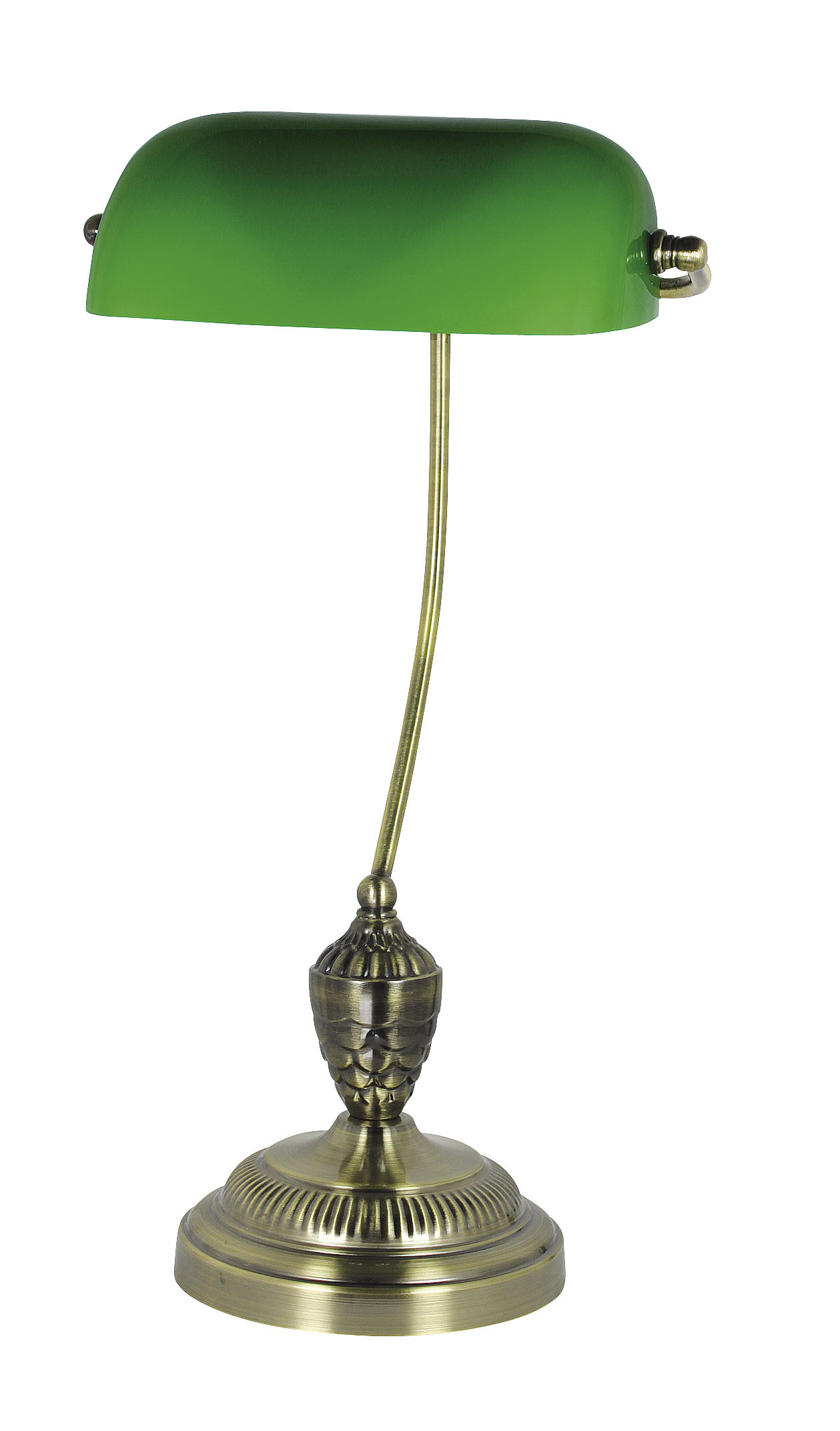 bankers lampe messing antik mit gr nem glasschirm h 50cm. Black Bedroom Furniture Sets. Home Design Ideas