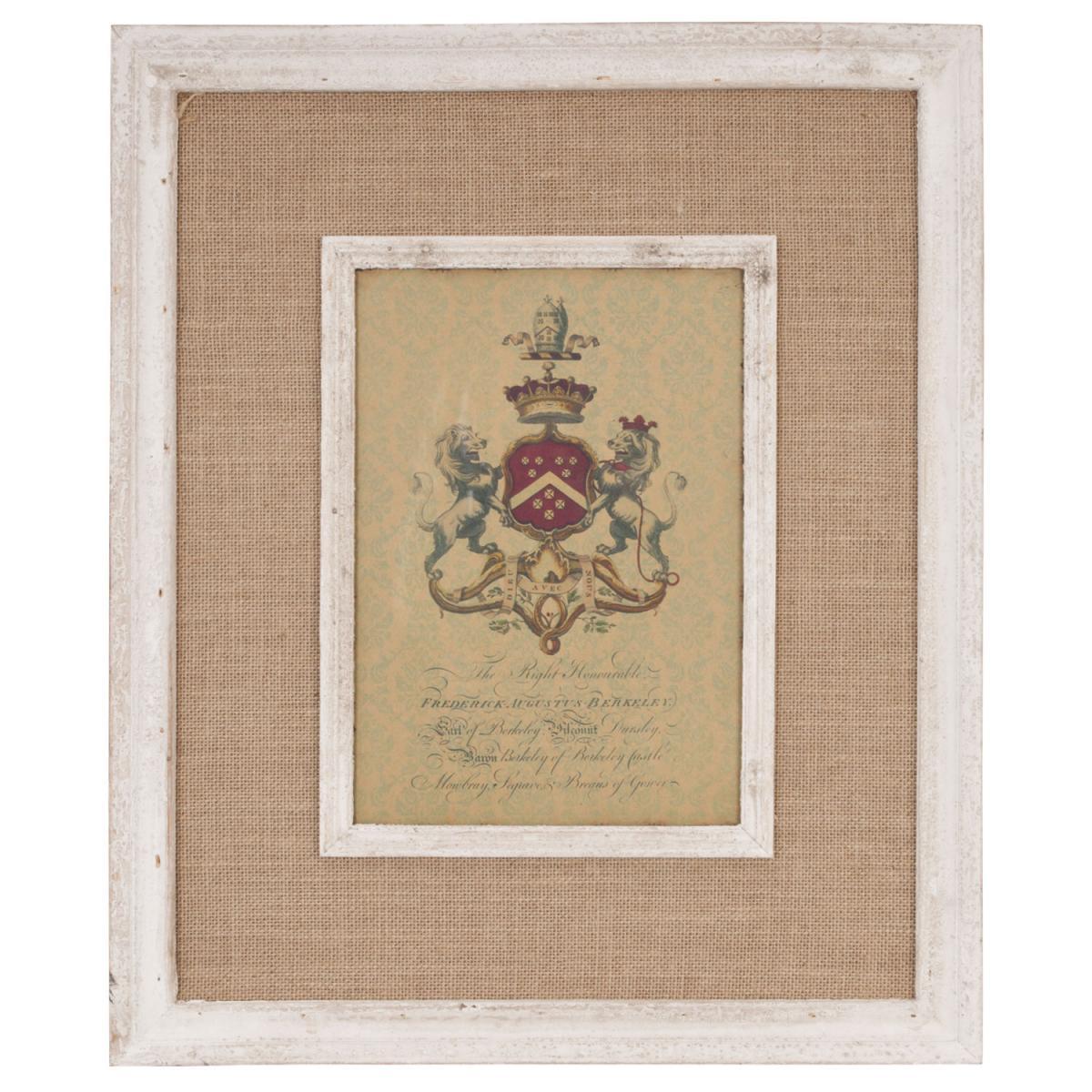 Clayre & Eef 50095 gerahmtes Bild auf Stoff Wappen ca. 60 x 50 cm