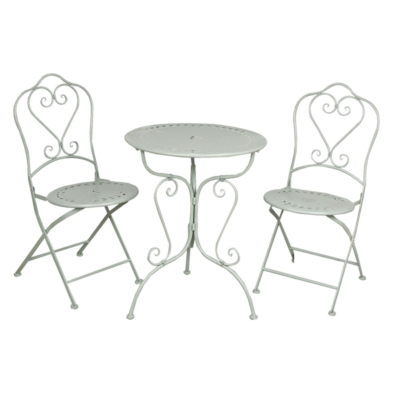 Clayre Eef 5y0129 Gartentisch Mit Zwei Stühlen Grünlich Ca ø 62