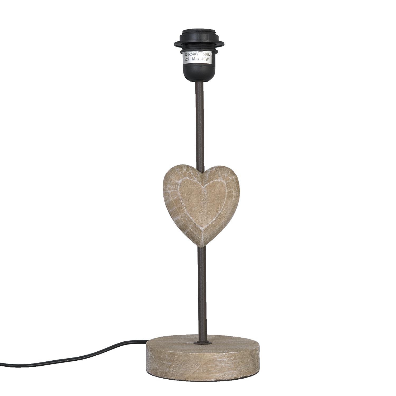 Clayre Eef 6lmp010 Lampe Herz Holz Braun Ohne Schirm Ca O 13 X
