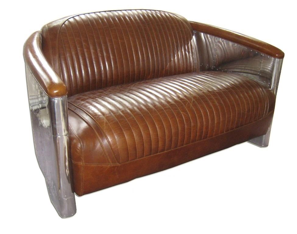 alu 2 sitzer leder braun vintage stil schafsleder handpoliert handpatiniert original art deco. Black Bedroom Furniture Sets. Home Design Ideas