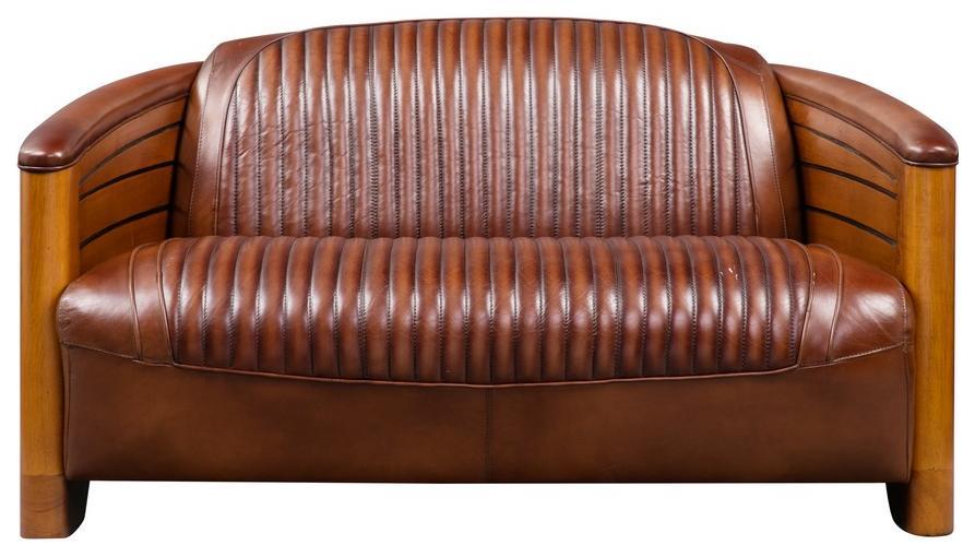 vintage stil zweisitzer original art deco stil vintage stil mahagoni m bel vollnarbiges leder. Black Bedroom Furniture Sets. Home Design Ideas