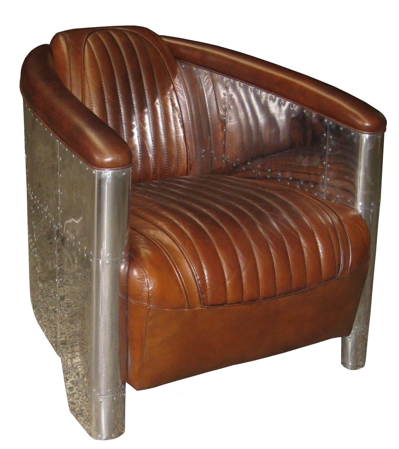 d clipper alu sessel braun vintage leder. Black Bedroom Furniture Sets. Home Design Ideas