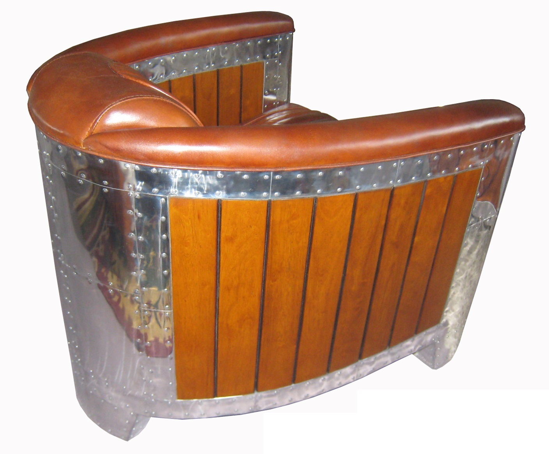 leder clubsessel nautic alu hell braun. Black Bedroom Furniture Sets. Home Design Ideas