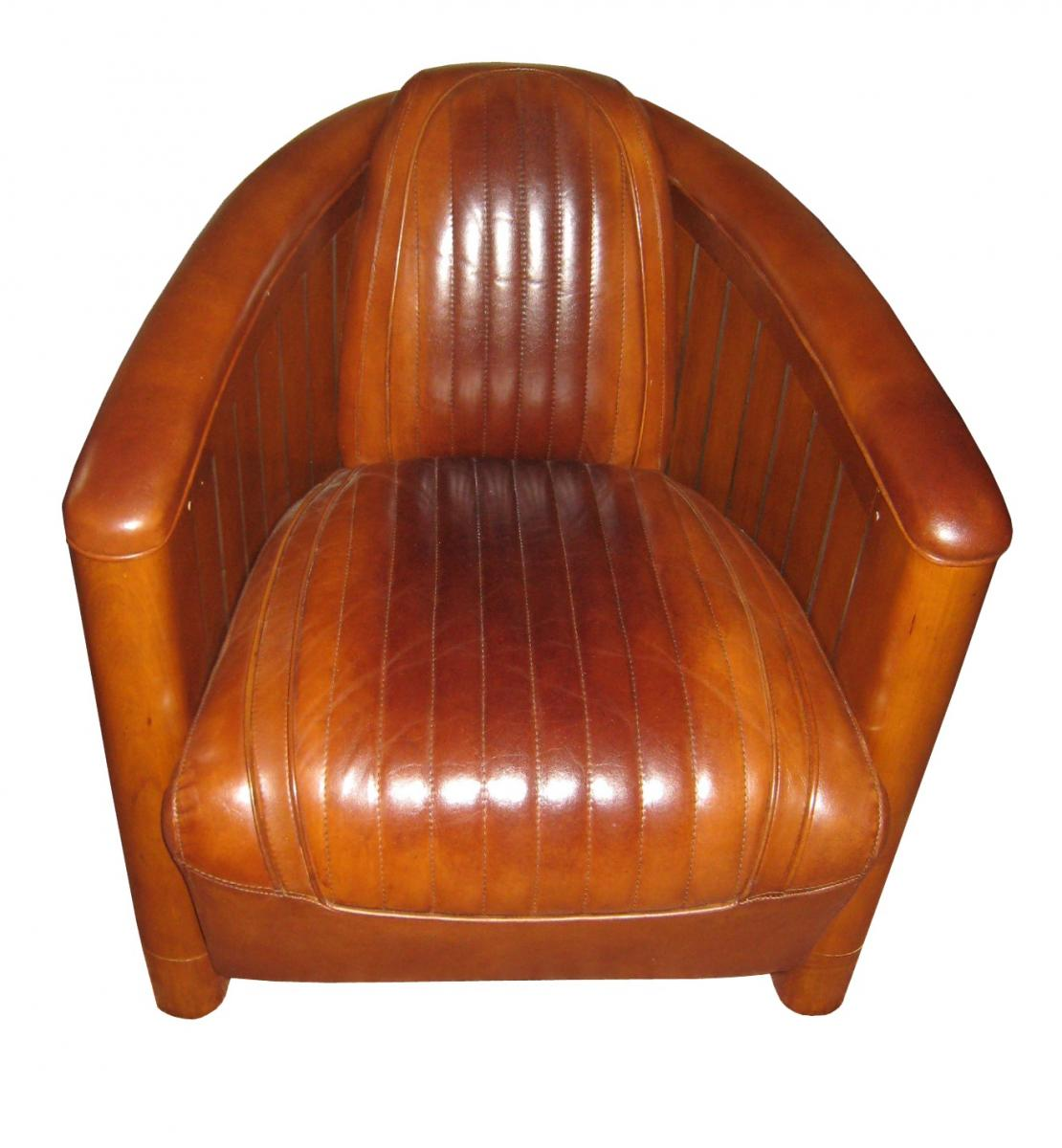 art deco ledersessel leder clubsessel nautic hell braun rund. Black Bedroom Furniture Sets. Home Design Ideas
