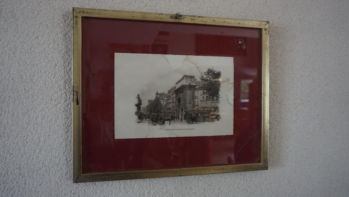 Antiker Goldrahmen Schwarz Weiß Gemälde Stadt/Kutsche