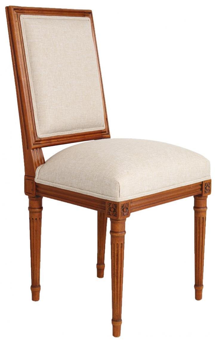 Klassischer Französischer Canvas Stoff Stuhl Massivholz