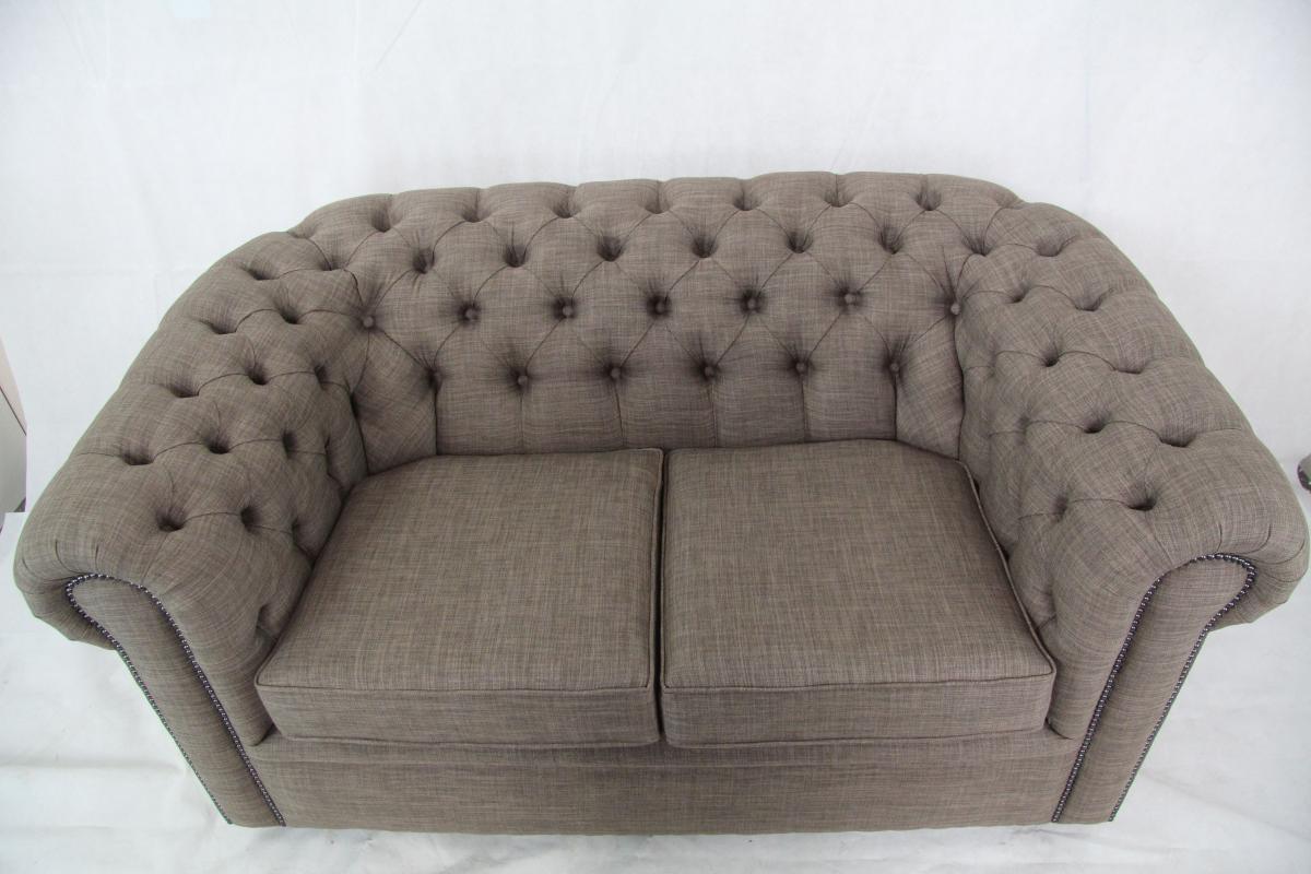 original britisches Stoffsofa Stoff Couch Zweisitzer Ledersofa ...