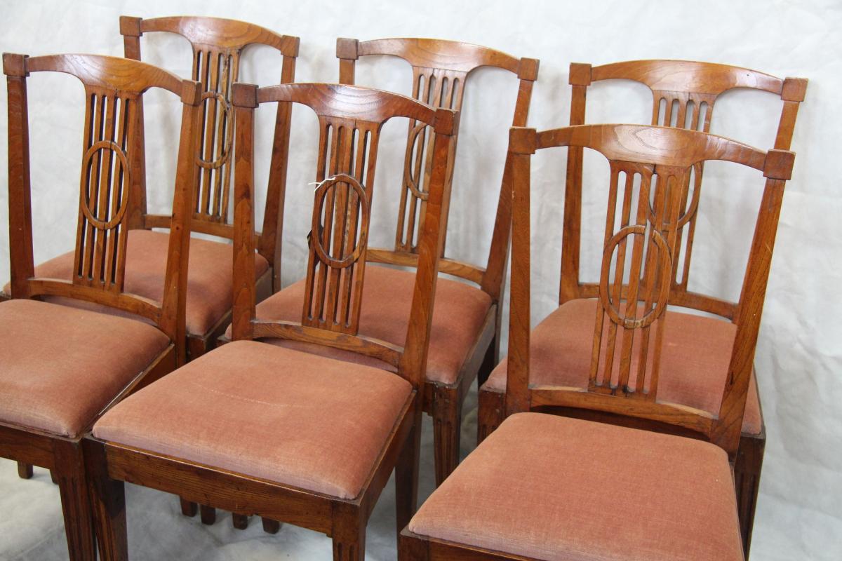 Kompletter 6er Satz antiker Rüster Stühle\