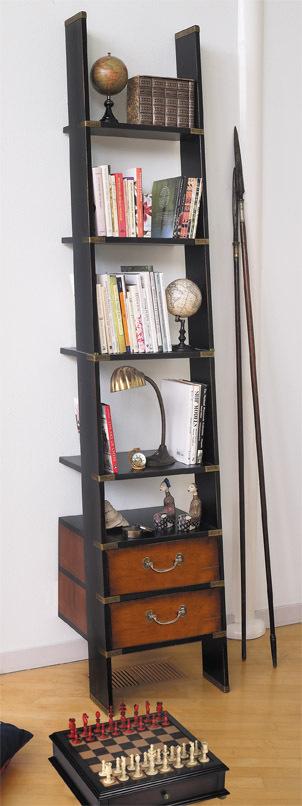 b cherrei leiter b cherschrank b cherregal aus holz antikes regal in elfenbein. Black Bedroom Furniture Sets. Home Design Ideas