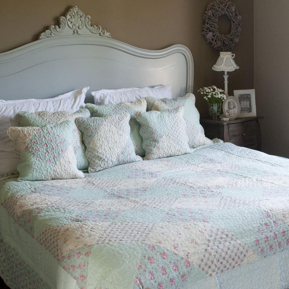 clayre eef tagesdecke blumen hellblau 140 x 220. Black Bedroom Furniture Sets. Home Design Ideas
