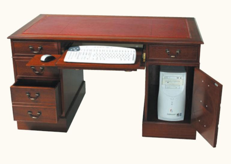 Stabiler Computer Schreibtisch Mahagoni