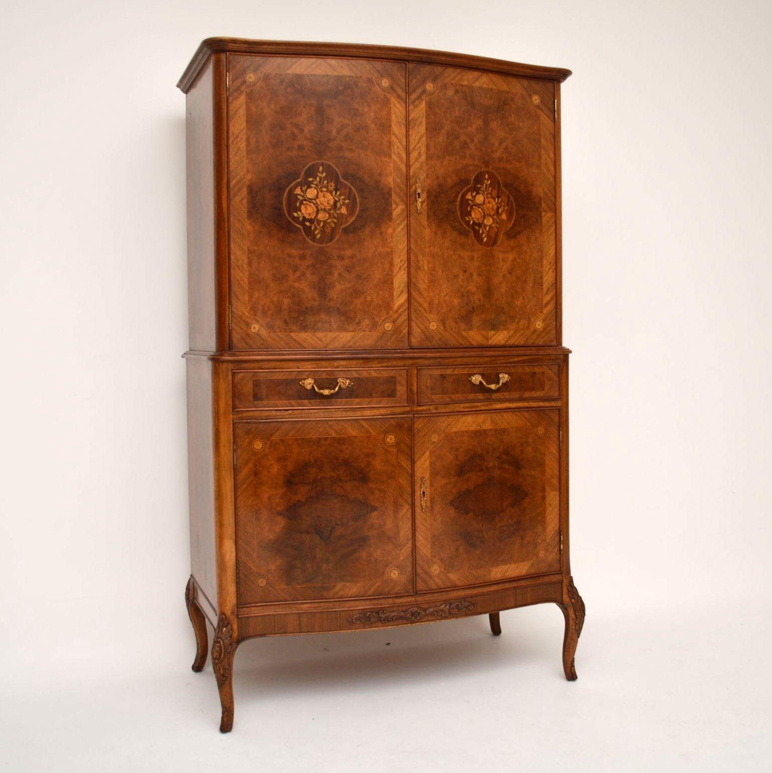 Antik French Burr Walnuss & Intarsien Cocktail Kabinett Schrank