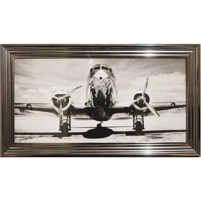 schwarz wei bild bild in schwarz wei flugzeug mit silbernem bilderrahmen wandbild bild im. Black Bedroom Furniture Sets. Home Design Ideas