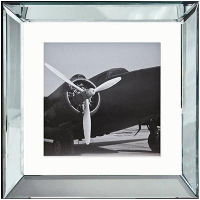 vintage bild im spiegel bilderrahmen flugzeug propeller flugzeug schwarz wei im bilderrahmen. Black Bedroom Furniture Sets. Home Design Ideas