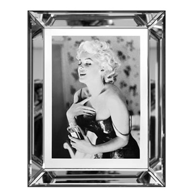 bild marilyn monroe chanel no 5 wandbild schwarz wei 40x50 im rahmen spiegelbilderrahmen. Black Bedroom Furniture Sets. Home Design Ideas
