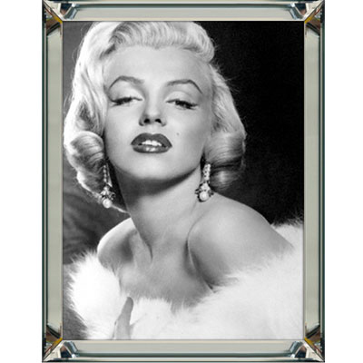 marilyn monroe glamour bild schwarz wei wandbild 60x80 im rahmen spiegelbilderrahmen. Black Bedroom Furniture Sets. Home Design Ideas