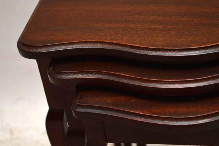 Antikes Nest Of Tables Edwardian Beistelltisch Holztisch 3er Set