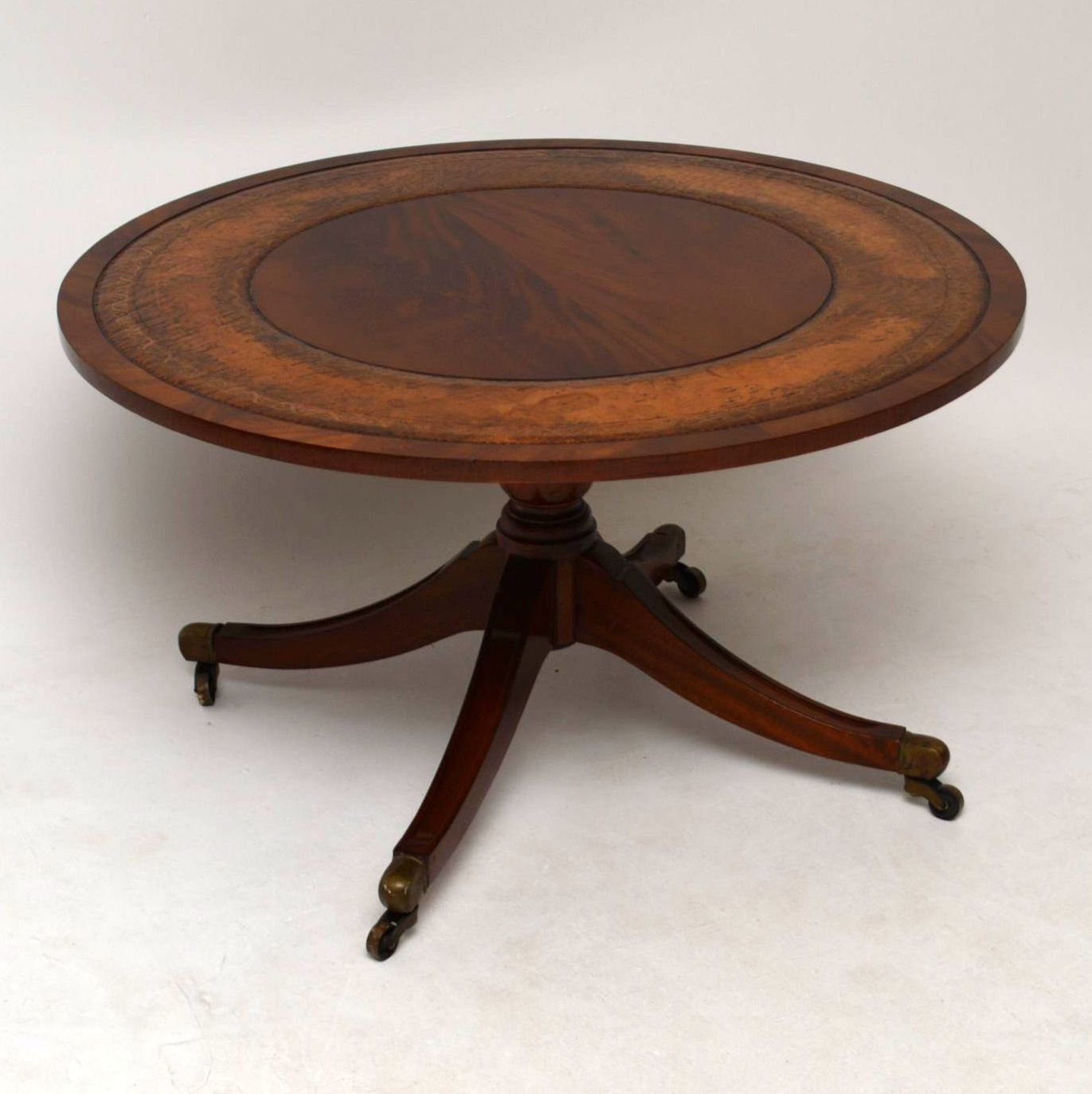 - Antique Mahogany & Leather Coffee Table