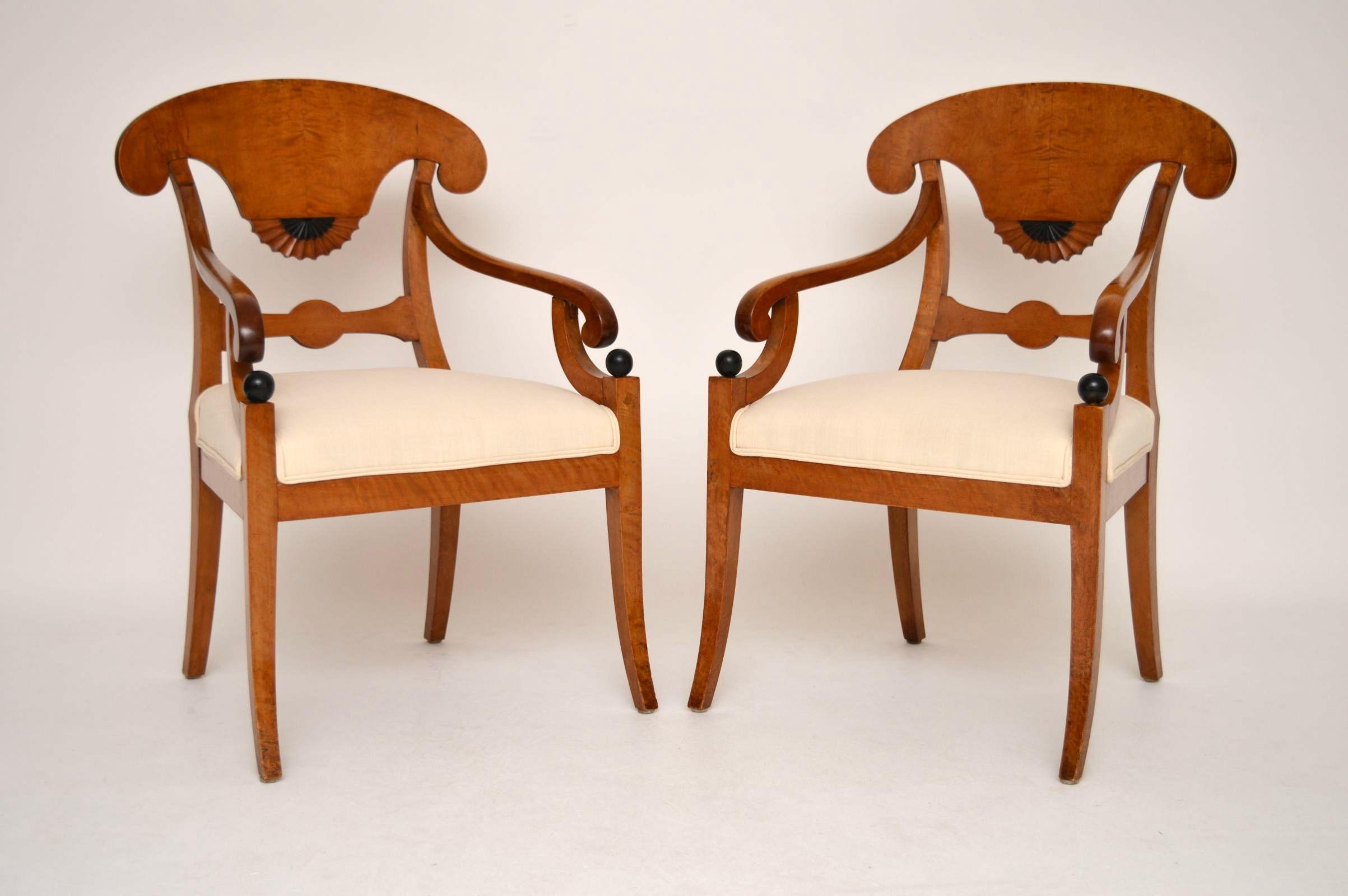 paar schwedische biedermeier satin birken sessel. Black Bedroom Furniture Sets. Home Design Ideas