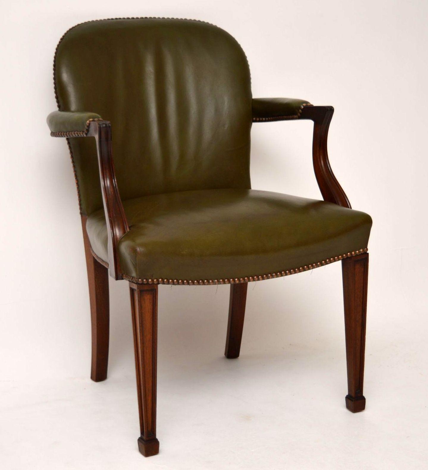 antiker mahagoni und leder schreibtischstuhl sessel. Black Bedroom Furniture Sets. Home Design Ideas