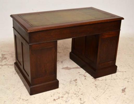 klassischer mahagoni schreibtisch gr ne lederplatte pedestal desk. Black Bedroom Furniture Sets. Home Design Ideas