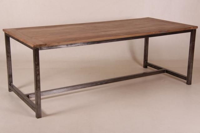 teak esstisch mit metallgestell versch gr en. Black Bedroom Furniture Sets. Home Design Ideas
